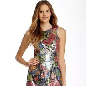 Jessica Simpson Floral Metallic Dress Size 8 NWT